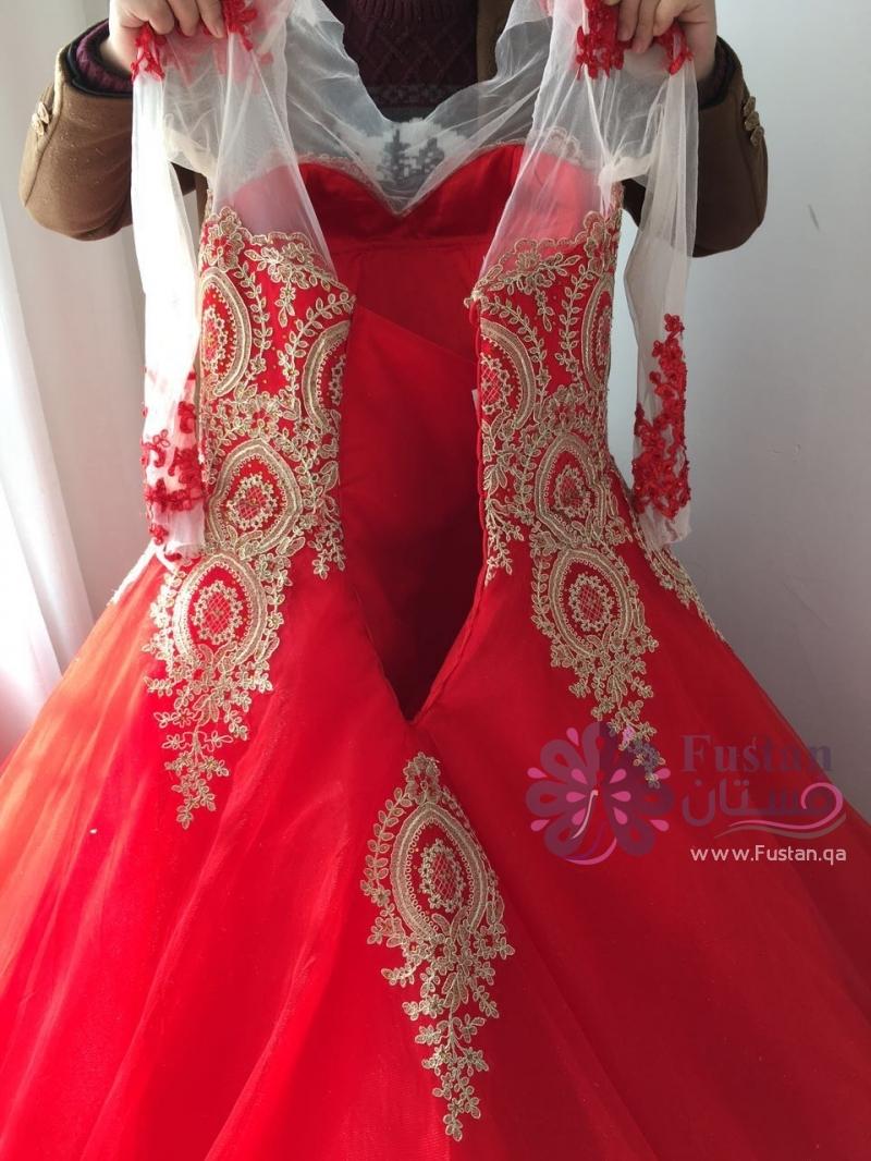 فستان عروس خطوبة احمر جديد
