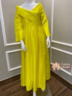 فستان اصفر قرقيعان جديد