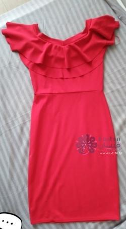 فستان سهرة ملفت و راقي / فستان احمر  غزالي قصير