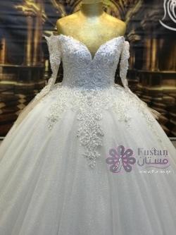 فستان زفاف تركي ملوكي شك يدوي مع مستلزماته