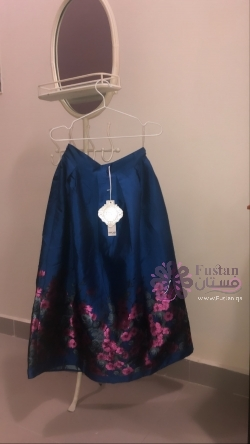 Royal blue printed skirt